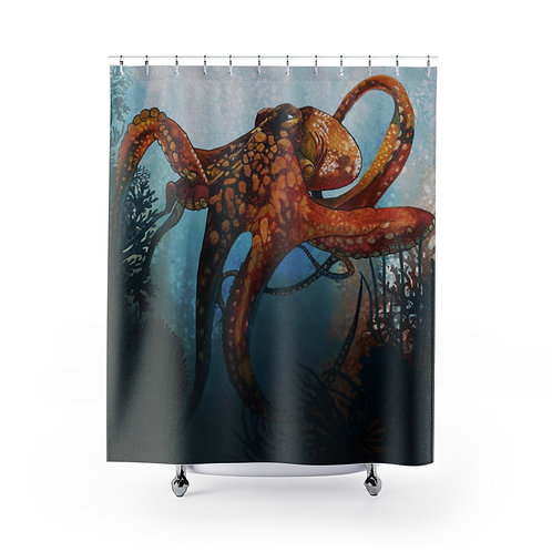 Octopus in the coral shower curtain
