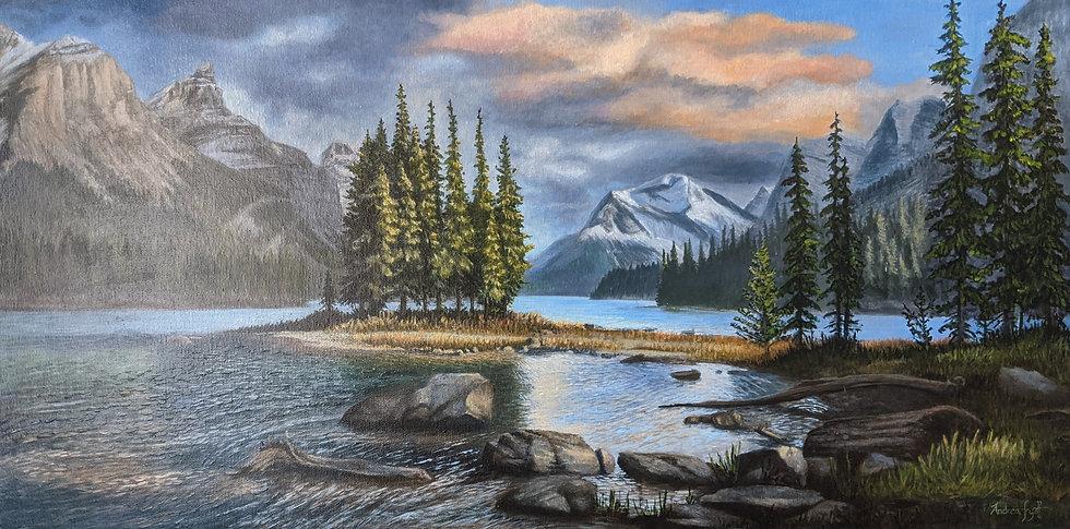 Acrylic, Landscape Painting, Spirit Island, Banff Canada