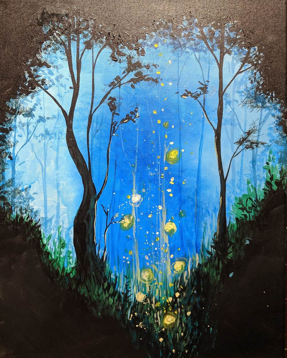 Paint night, Fantasy forest, forest painting, magic, faeries, daily painting practice