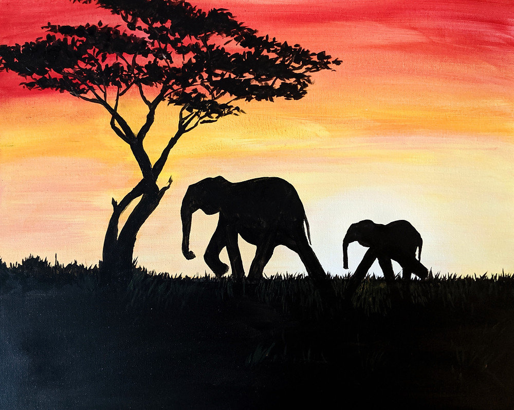 Paint Night, Elephants, Africa, painting, Daily painting practice