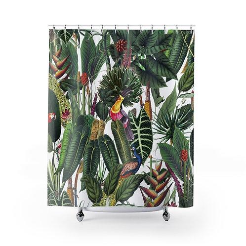 Lush Tropical Rainforest Shower Curtain on White