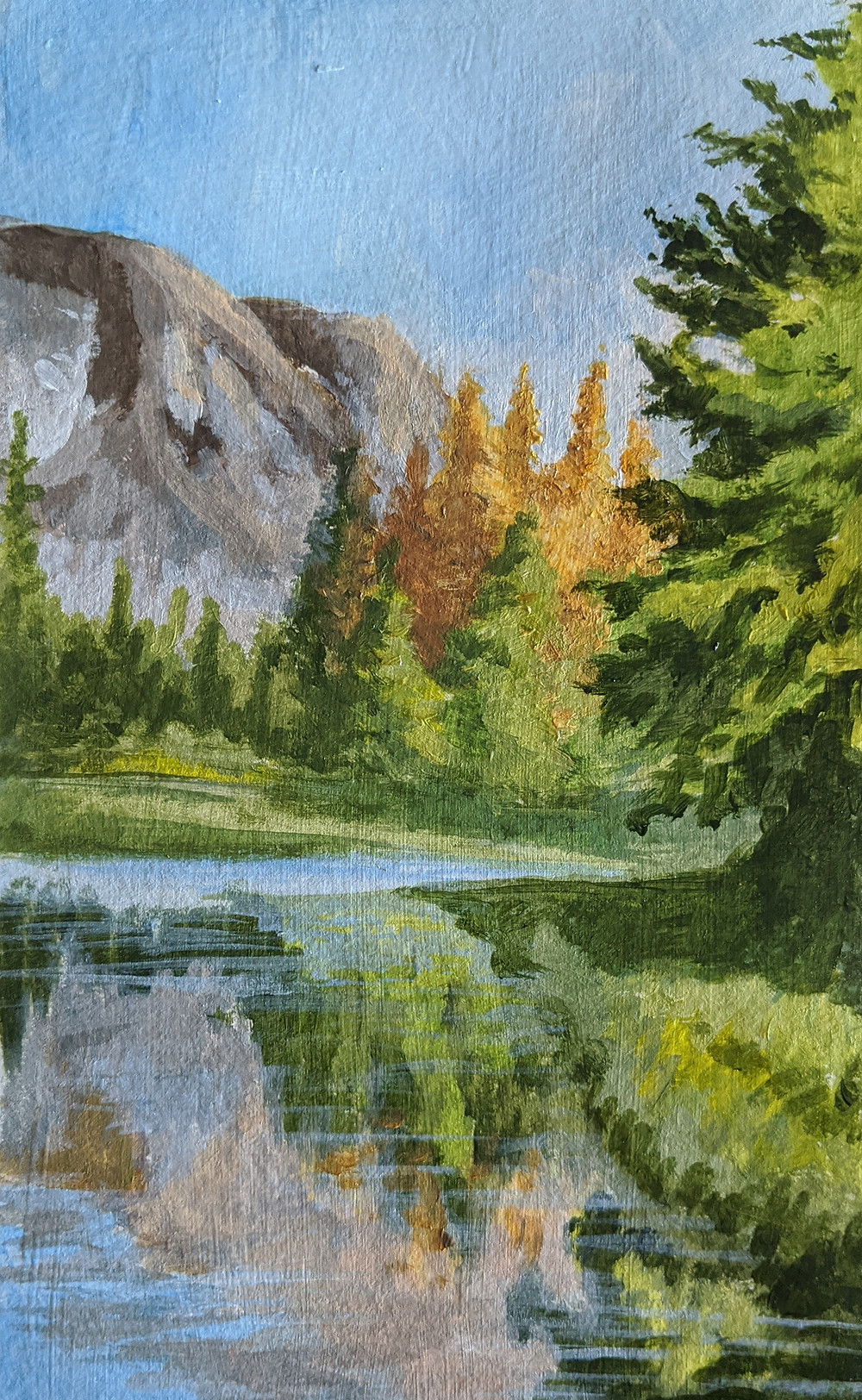 Landscape painting, Mountain, reflection, daily painting practice, improve your painting