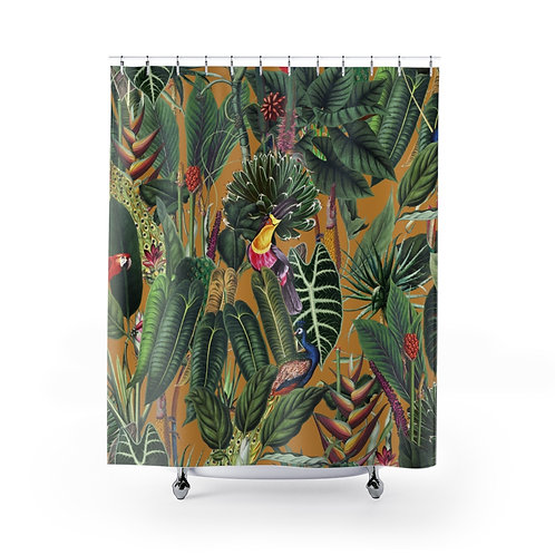 Lush Tropical Rainforest Shower Curtain on Yellow