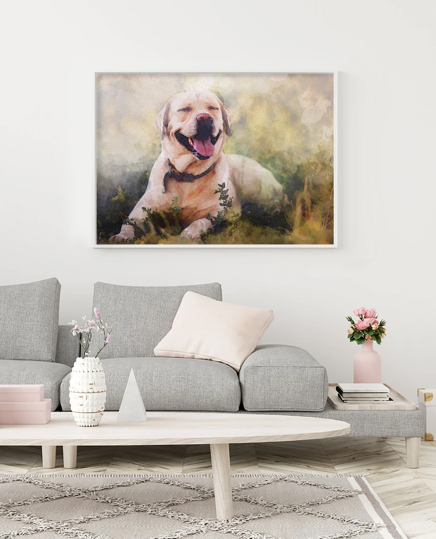 Happy dog framed