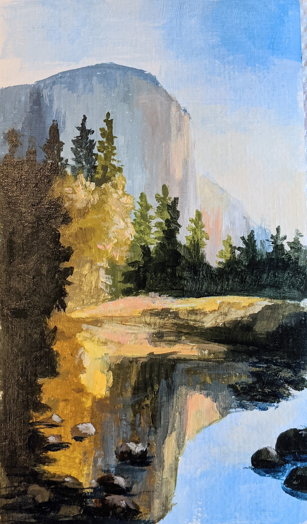 Mountain, reflection, painting, daily painting practice, improve your painting, get better at painting, painting in acrylics