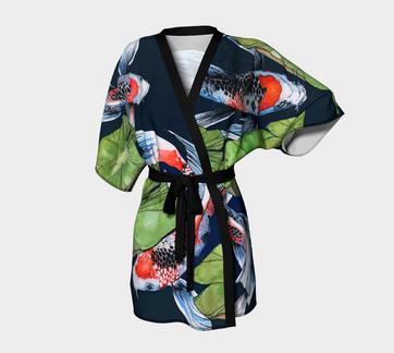 Koi Fish Kimono Robe Midnight Blue