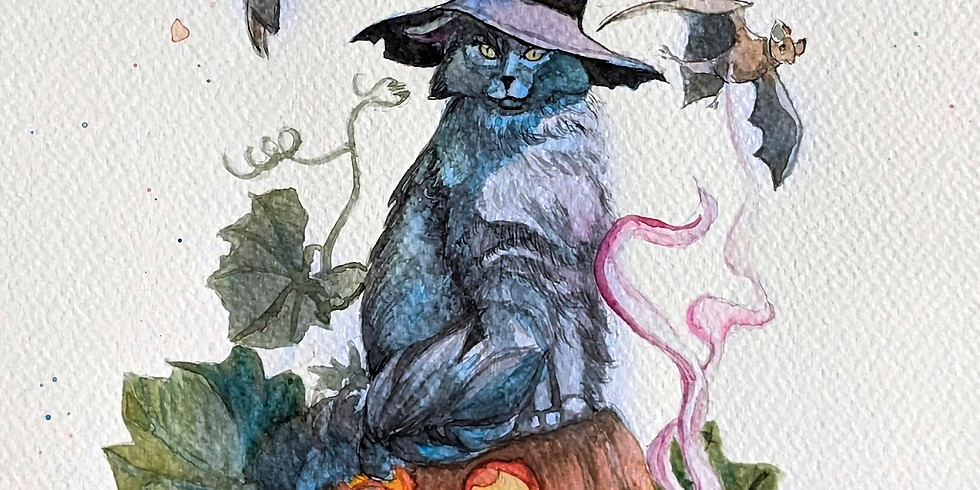 Cute Witches Cat in Watercolor