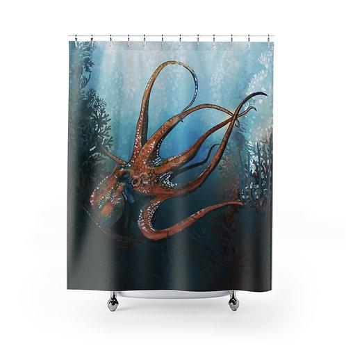 Octopus In The Garden Shower Curtain
