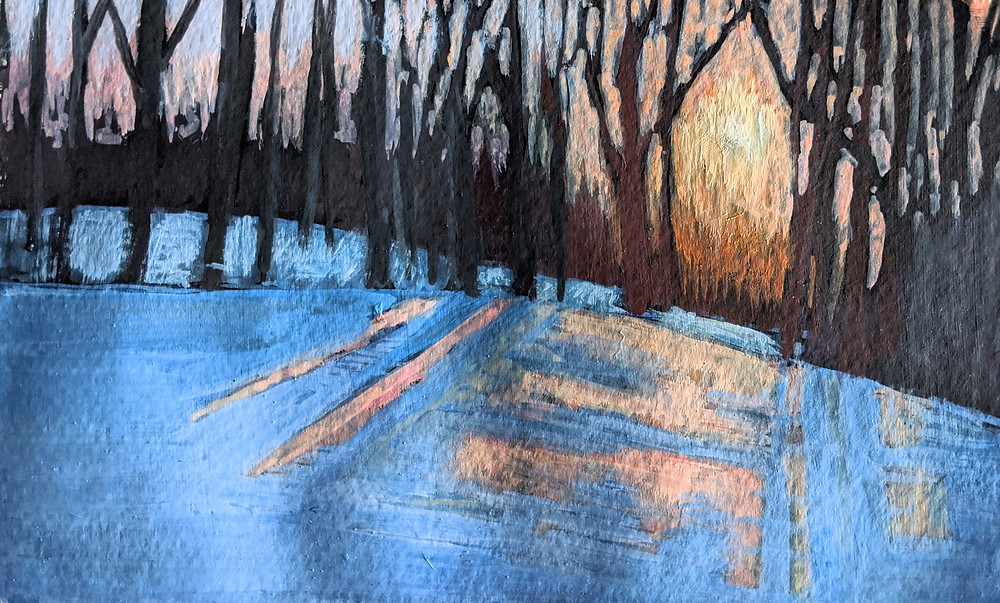 Snow, Canadian Landscape, Trees, Sunset, Painting, Gouache