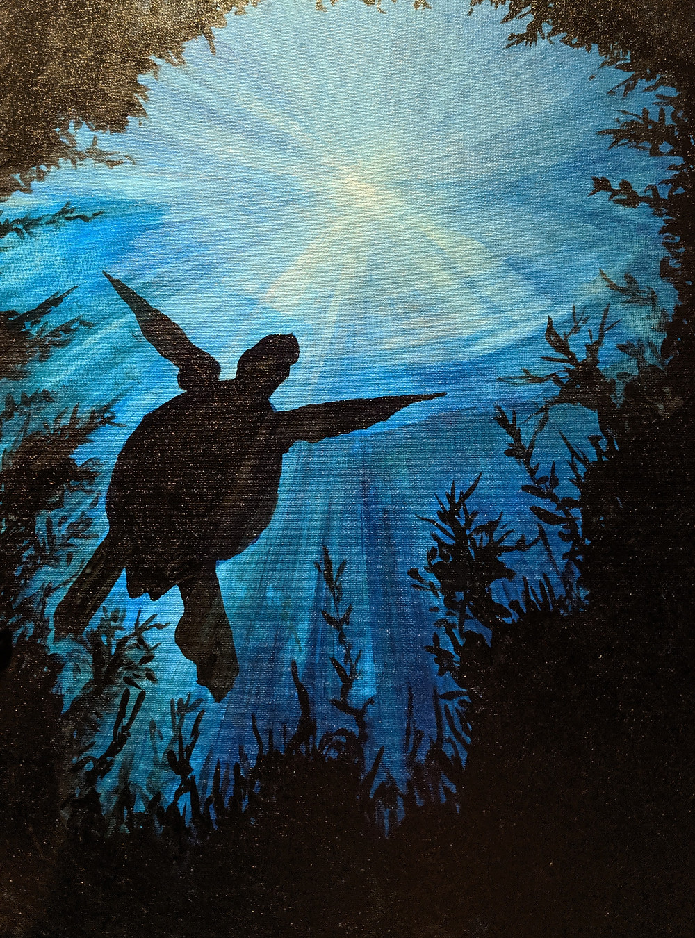 Paint Night, Turtle, Underwater painting, Acrylic, Daily painting practice