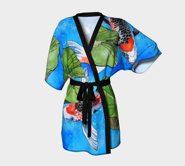 Koi Fish Kimono Robe Blue