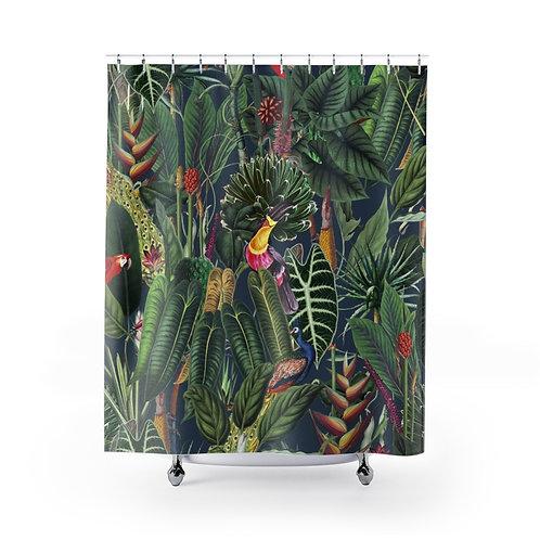 Lush Tropical Rainforest Shower Curtain on Blue
