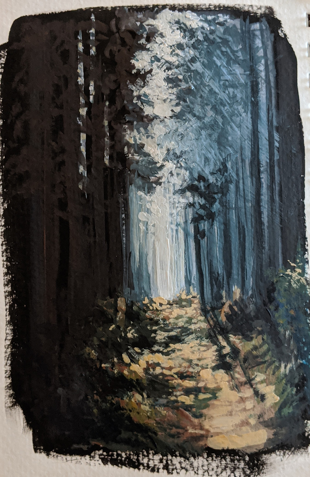 Dark forest, forest path, painting, gouache, daily art practice