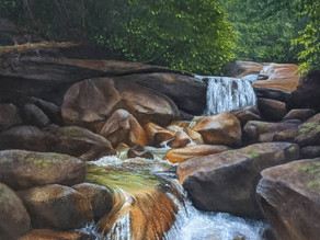"""My process for Fog """"over Shannon Falls"""" in Acrylic."""