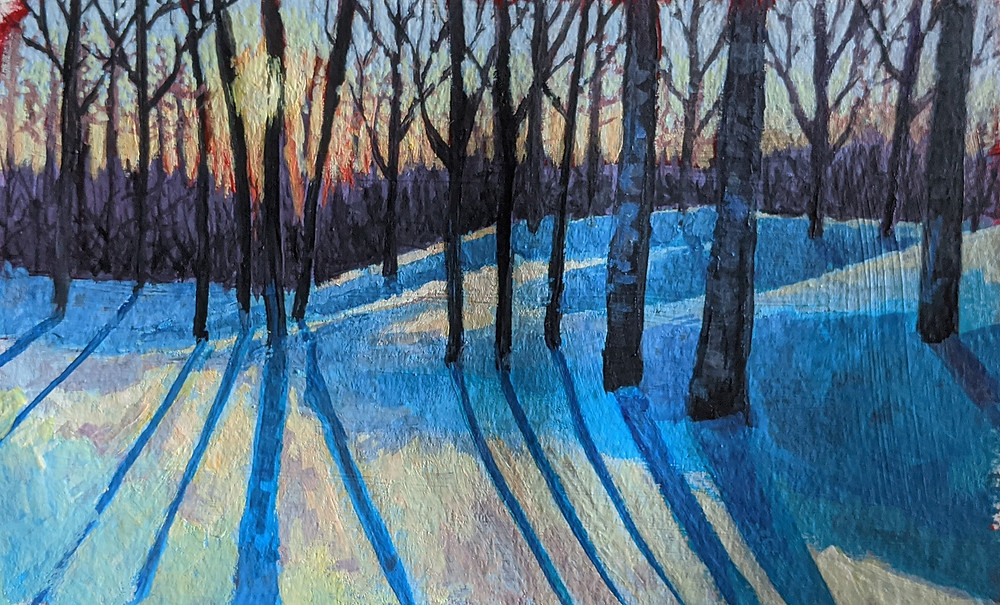 Trees, Snow, Sunset, Landscape painting, Gouache