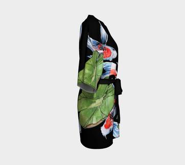 Koi Fish Kimono Robe Black