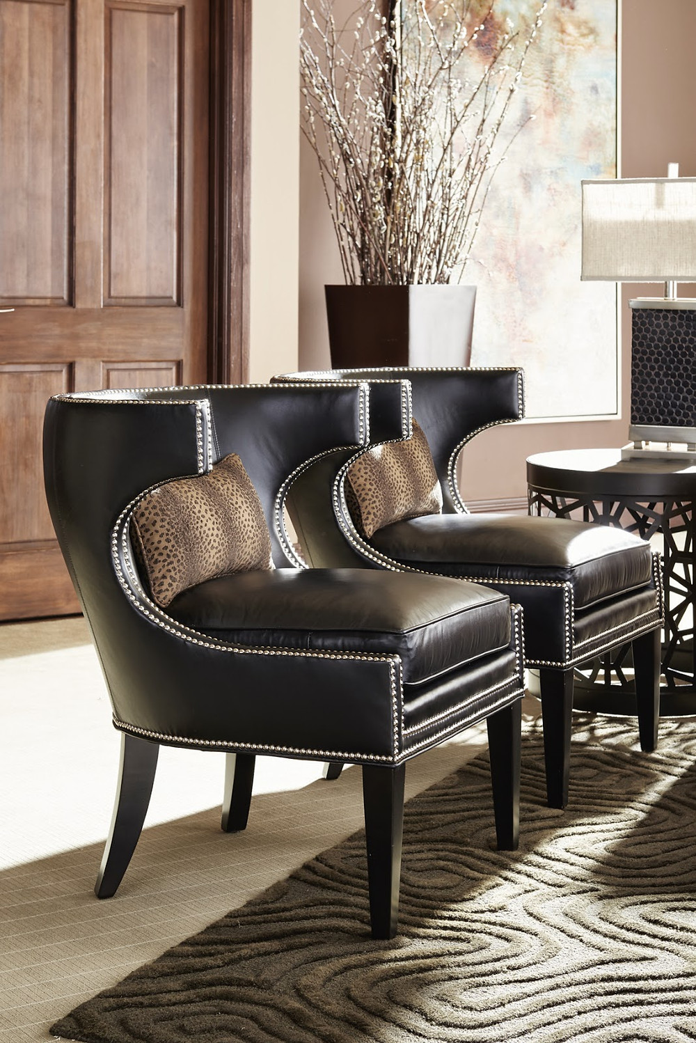 where can if find sleek elegant modern leather chairs with leopard pillows in san mateo san jose cupertino