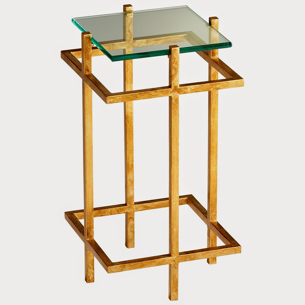 gold and glass square end or accent table for home and office in hayward castro valley east bay san jose