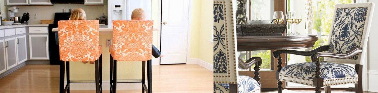 Dining room chairs, custom fabric options, custom designs. Copycat Crate & Barrel and Pottery Barn.