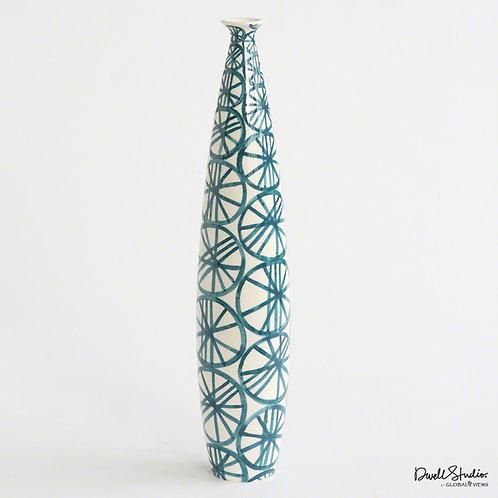 Blue Wheels Tall & Skinny Vase
