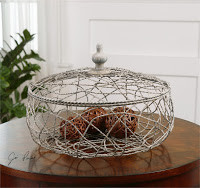 White wire basket for home decor at Sofa Outlet near Foster City.