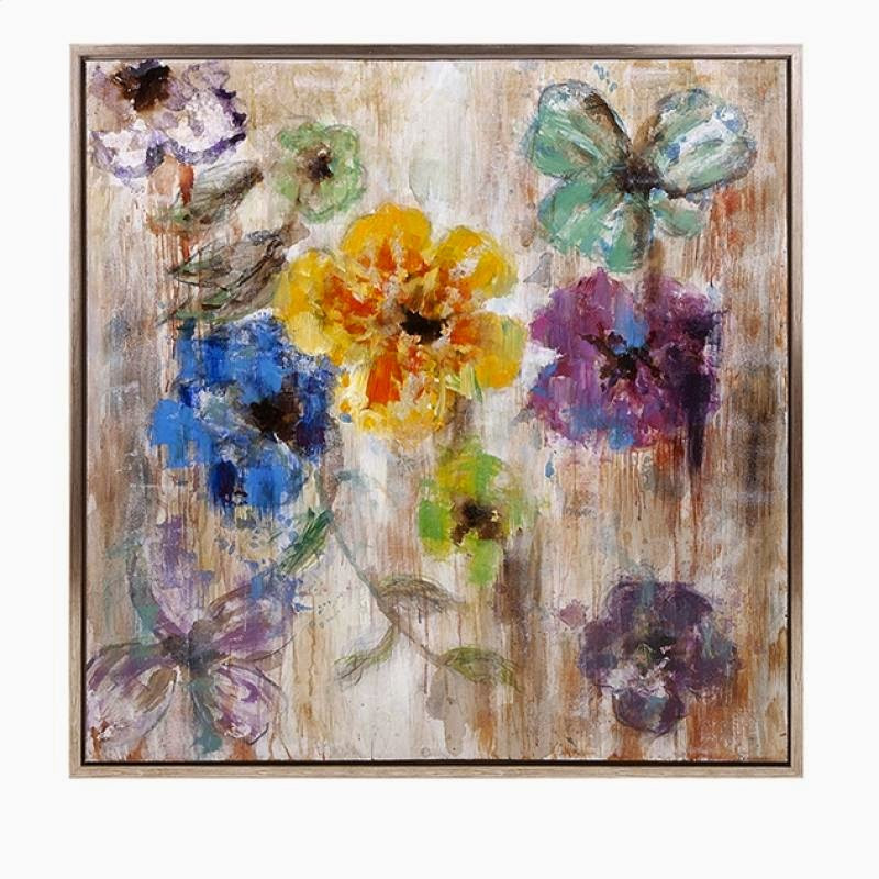 flower painting and artwork to accent home and office yellow blue purple and green flowers in san mateo sofa outlet