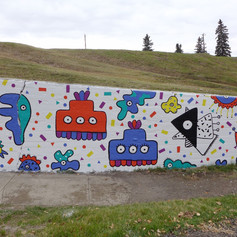 AMOEBA PARTY MURAL: SECTION