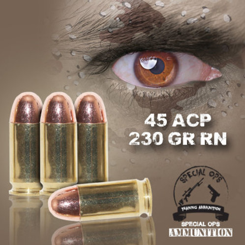 SPECIAL OPS AMMO 45 ACP 230 GR RN