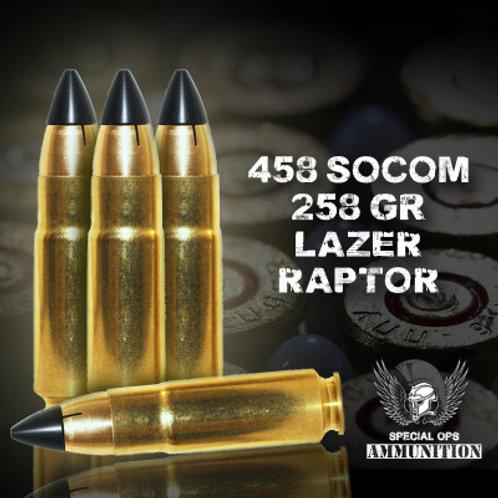 SPECIAL OPS AMMO 458 SOCOM 258 GR LAZER RAPTOR