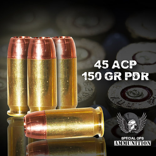 SPECIAL OPS AMMO 45 ACP 150 GR PDR RAPTOR
