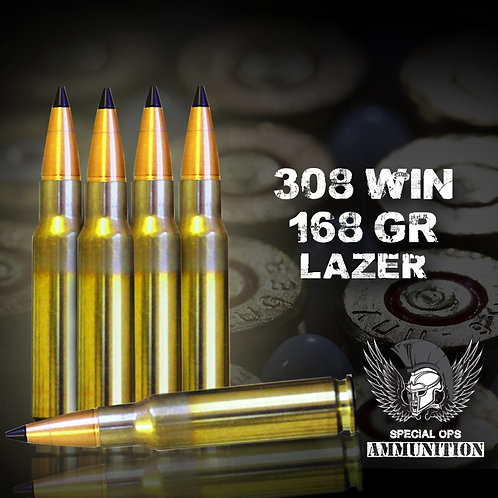 SPECIAL OPS AMMO 308 WIN 168 GR LAZER