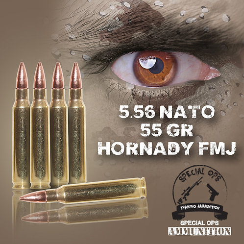 SPECIAL OPS AMMO 5.56 NATO 55 GR HORNADY FMJ