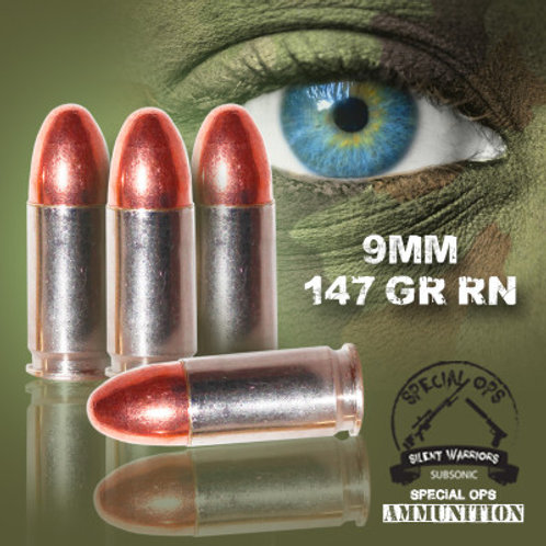 SPECIAL OPS AMMO SUBSONIC 9 MM 147 GR RN