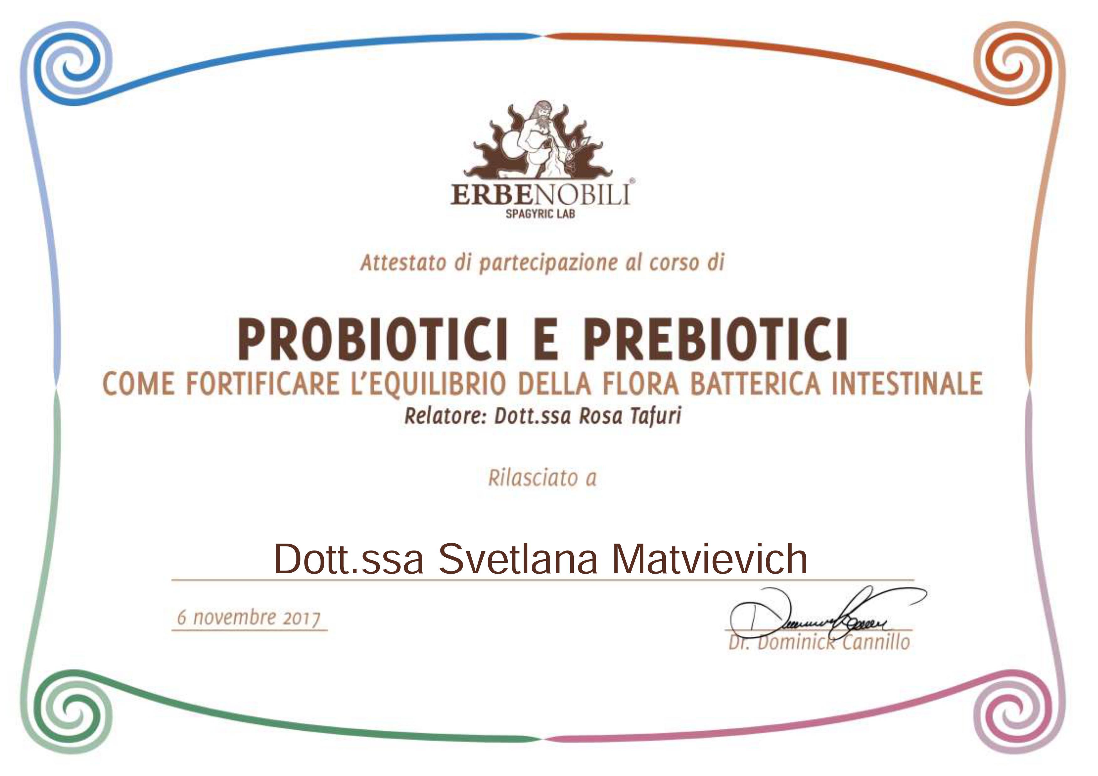 Corso Probiotici e Prebiotici 2017