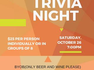 TRIVIA NIGHT! Saturday Oct 26th!