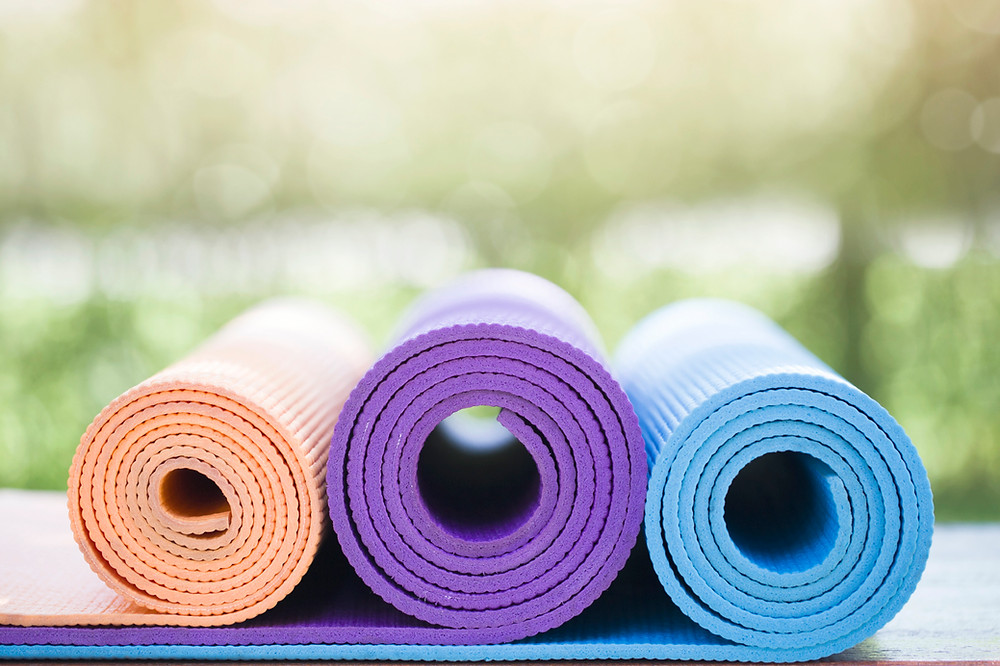 Yoga mats, seated yogasanas for beginners