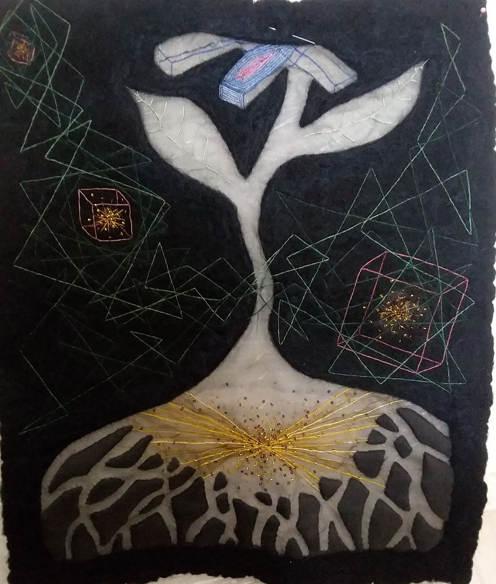 (This image shows the piece back to being mostly felt but with the grey silk appliqued over the flower and root system. I restitched the green lines and cubes and at this stage was testing out different ways of completing the flower petals - a very frustrating task which required days of rest in between to settle down and regroup)