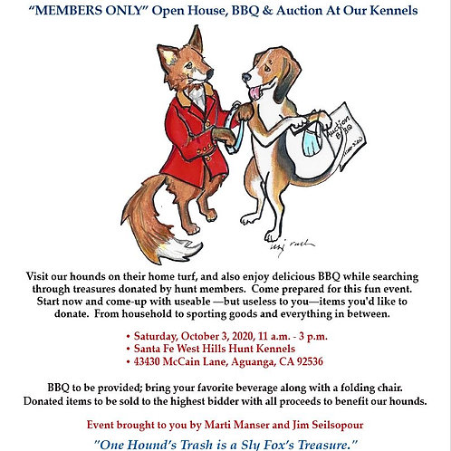 BBQ FOR SFH MEMBERS-SFH Kennels  October 3, 2020