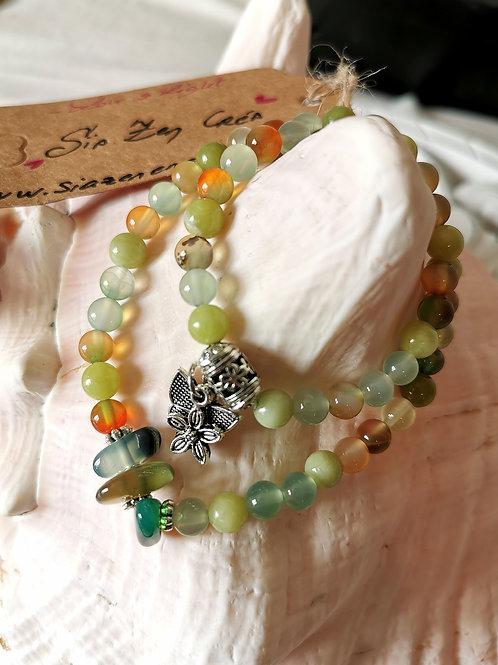 Bracelet double Agate & Jade & Aventurine