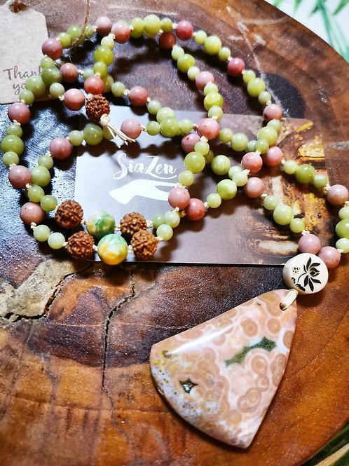 Mala 108 perle Jade Rodhonite et pendentif jaspe orbiculaire