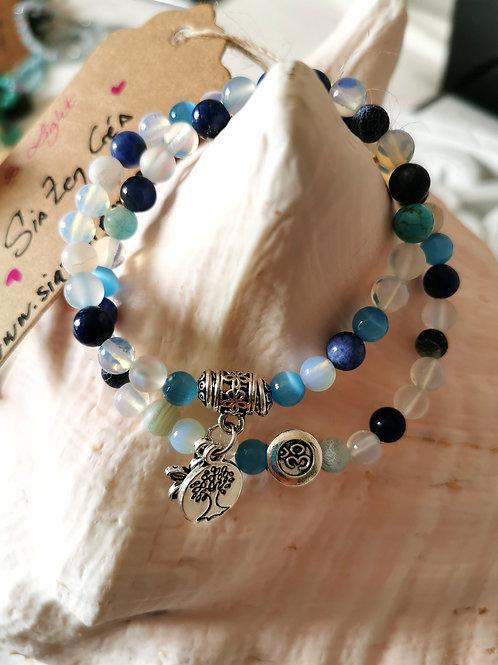 Bracelet double Lapis & Pierre de lune
