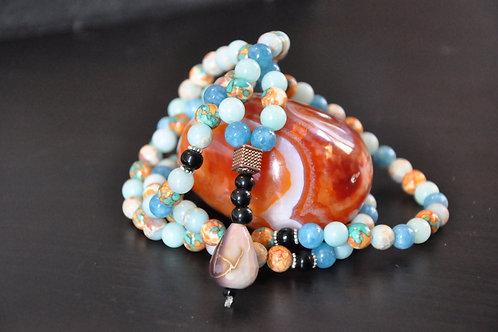 Mala 108 perles Aquamarine & Amazonite