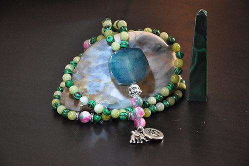 Mala Bouddha 108 perles Malachite & Jade