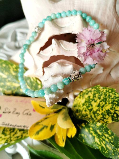 Bracelet de cheville Bouddha & Amazonite