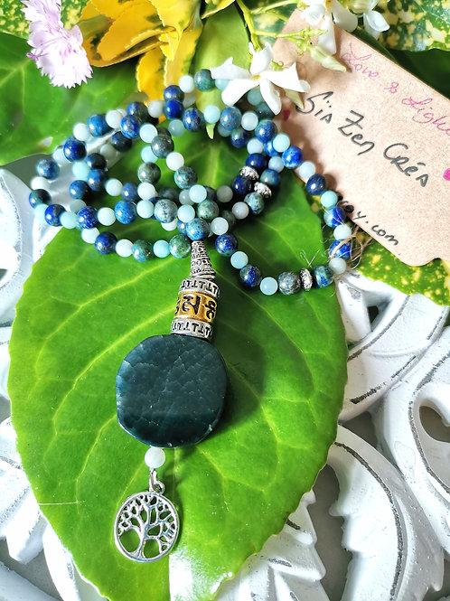 Mala 108 perles Azurite Malchite & Amazonite