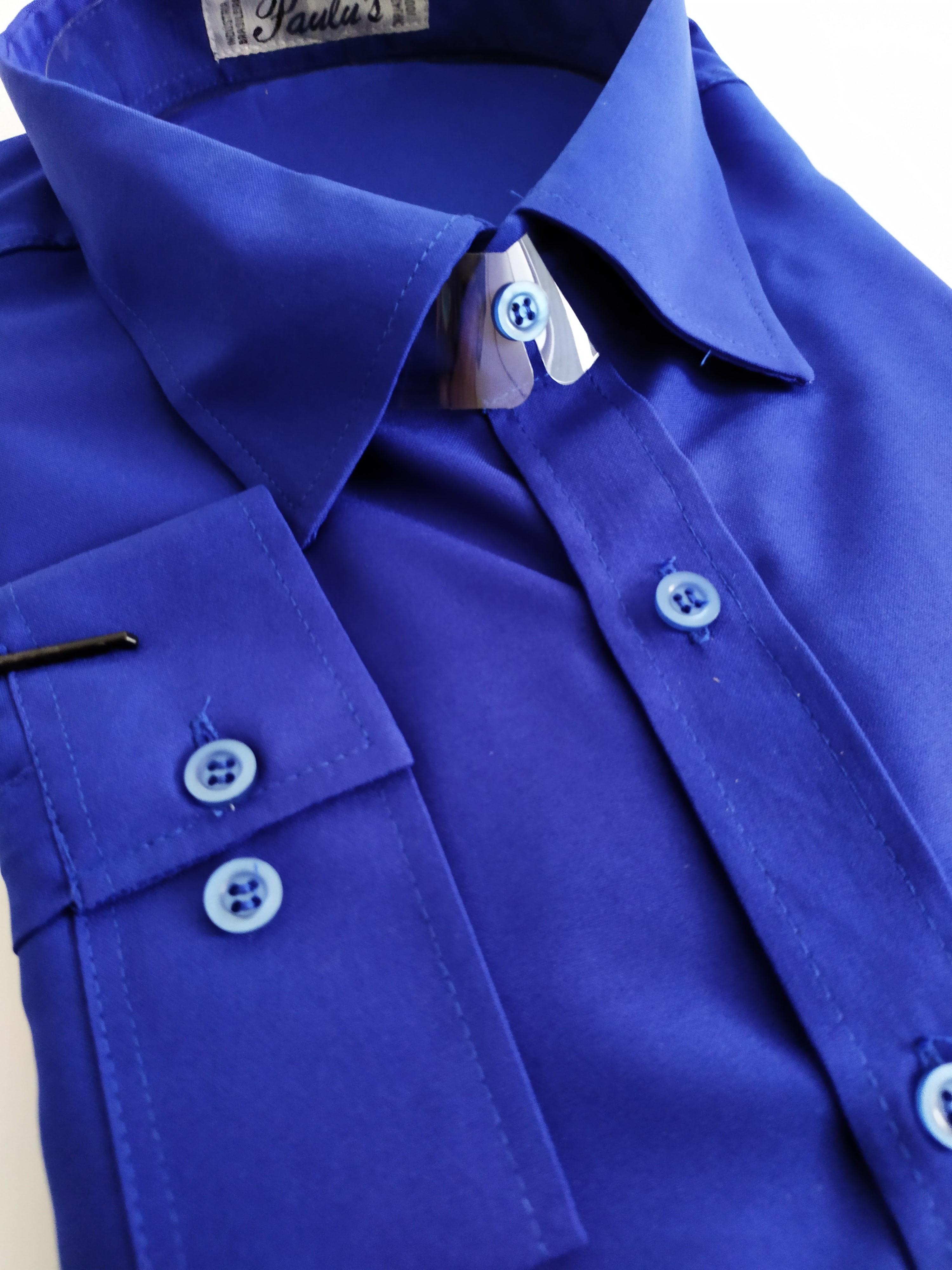 camisa lisa azul bic plus size