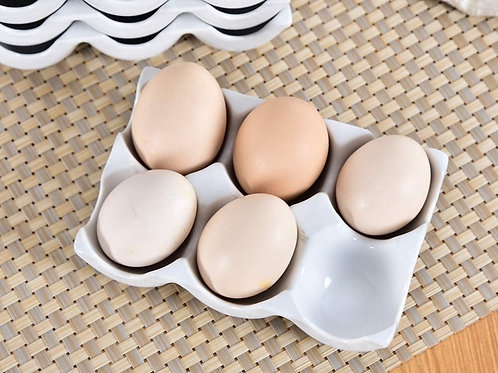 White Ceramic Egg Tray For 6 Eggs
