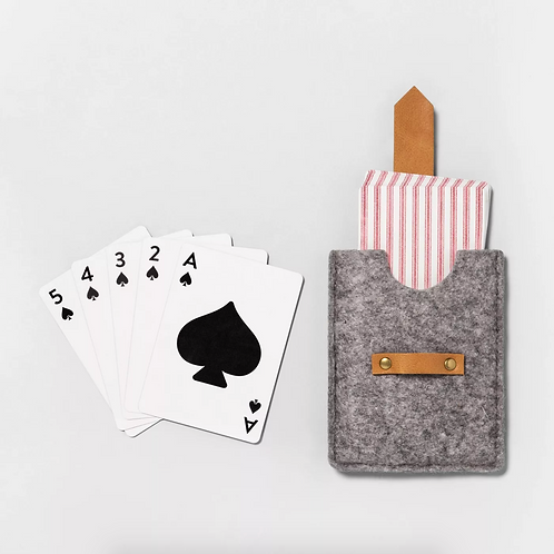 Striped Playing Cards in Felt & Leather Case