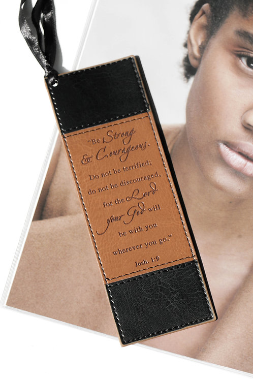 Biblical Faux Leather Bookmark (Joshua 1:9)