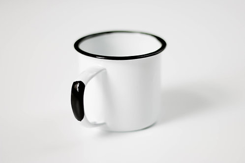 Farmhouse Black Trim White Enamel Small Coffee Mug